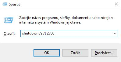 Windows Spustit shutdown